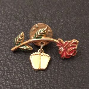 Vintage HH Gold Rose Baby Feet Dangle Brooch Pin